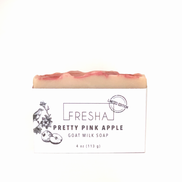 A photo of Pretty Pink Apple goat milk soap