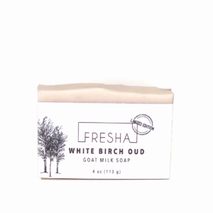 A photo of White Birch Oud goat milk soap